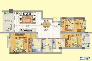 龙门新景G户型 3室2面积:120.34m平米