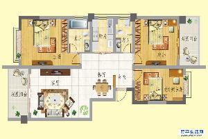 龙门新景F户型 3室2面积:128.48m平米