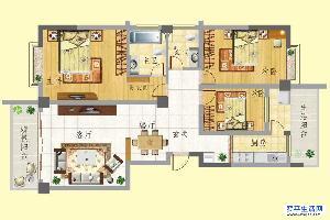 龙门新景D户型 3室2面积:134.46m平米
