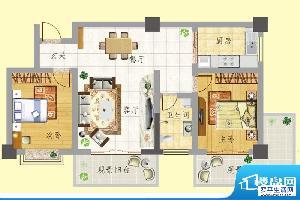 龙门新景A户型 2室2面积:87.68m平米