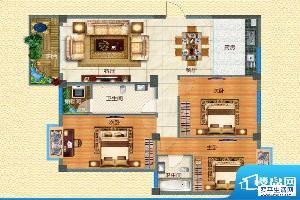 腊峰世家C户型图 3室面积:115.75m平米
